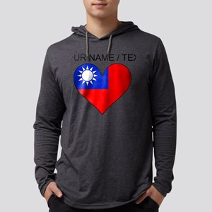 Custom Taiwan Flag Heart Mens Hooded Shirt