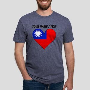 Custom Taiwan Flag Heart Mens Tri-blend T-Shirt