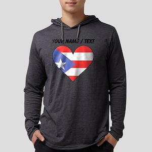 Custom Puerto Rico Flag Heart Mens Hooded Shirt