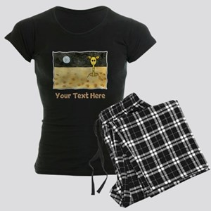 Giraffe on Moon. Your Text. Women's Dark Pajamas