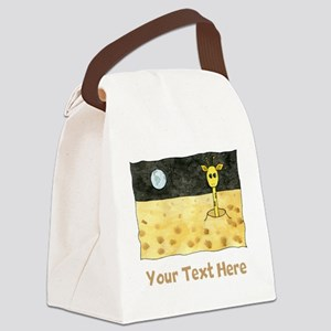 Giraffe on Moon. Your Text. Canvas Lunch Bag