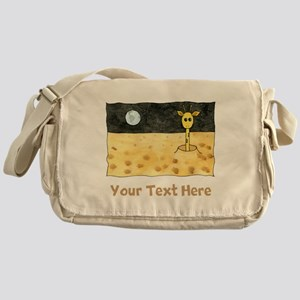 Giraffe on Moon. Your Text. Messenger Bag
