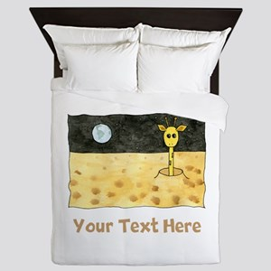 Giraffe on Moon. Your Text. Queen Duvet