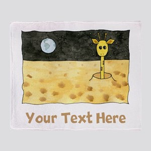 Giraffe on Moon. Your Text. Throw Blanket