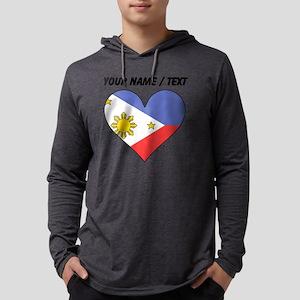 Custom Philippines Flag Heart Mens Hooded Shirt