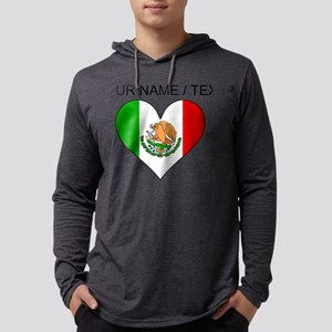 Custom Mexico Flag Heart Mens Hooded Shirt