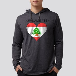 Custom Lebanon Flag Heart Mens Hooded Shirt