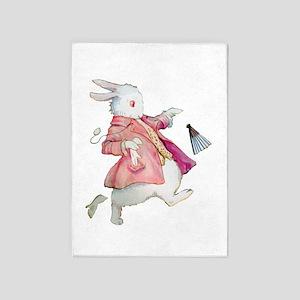 Alice's White Rabbit 5'x7'Area Rug