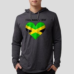 Custom Jamaica Flag Heart Mens Hooded Shirt