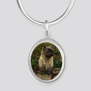 Cairn Terrier Silver Oval Necklace