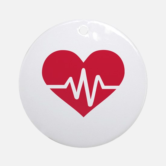 Red heart frequency Ornament (Round)