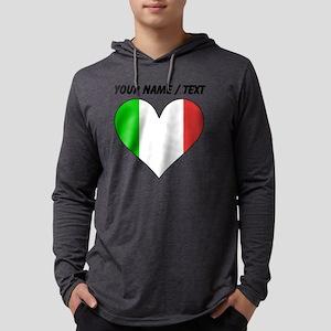 Custom Italy Flag Heart Mens Hooded Shirt