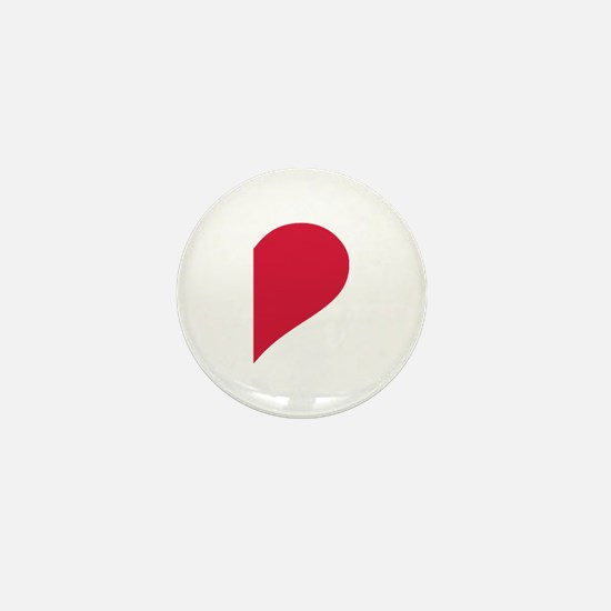Red right half heart Mini Button
