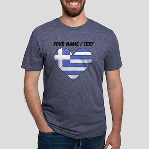 Custom Greece Flag Heart Mens Tri-blend T-Shirt