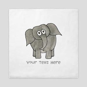 Elephant. Custom Text. Queen Duvet