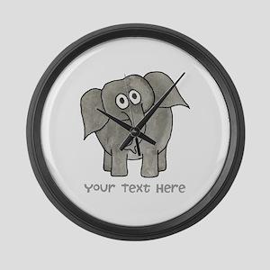 Elephant. Custom Text. Large Wall Clock