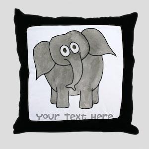Elephant. Custom Text. Throw Pillow