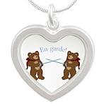 Teddy Bear Fencers Silver Heart Necklace