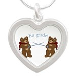 Teddy Bear Fencers Silver Heart Necklace