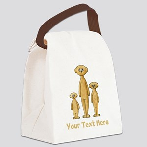 Meerkats. Custom Text. Canvas Lunch Bag
