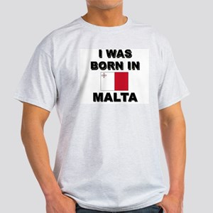 I Was Born In Malta Ash Grey T-Shirt