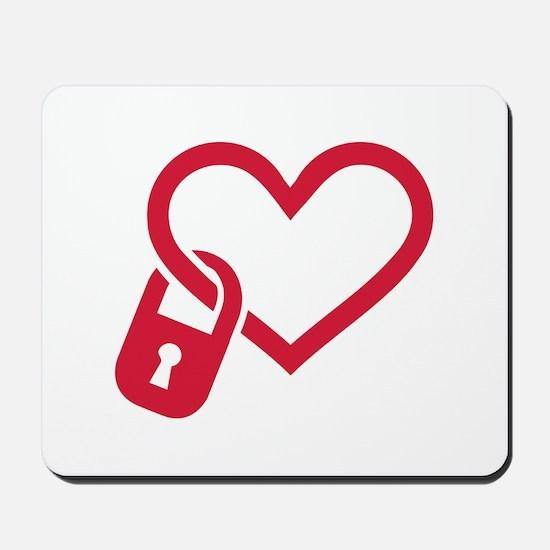 Red heart lock Mousepad