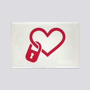Red heart lock Rectangle Magnet