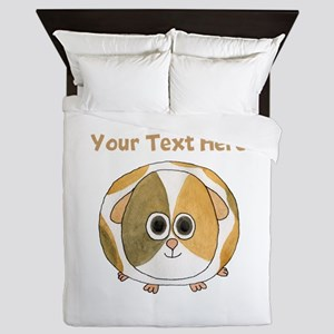 Guinea Pig. Custom Text. Queen Duvet