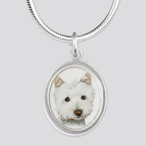 Cute West Highland White Terrier Dog Silver Oval N
