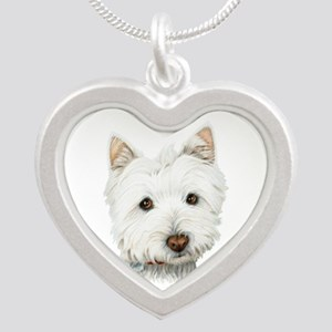 Cute West Highland White Terrier Dog Silver Heart