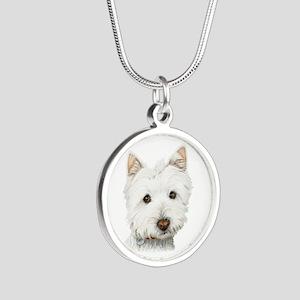Cute West Highland White Terrier Dog Silver Round