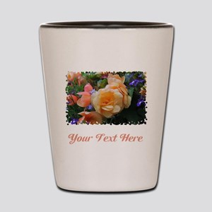 Flowers and Custom Text. Shot Glass
