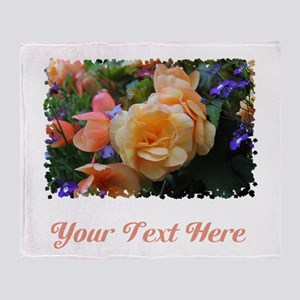 Flowers and Custom Text. Throw Blanket