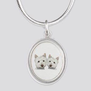 Two Cute West Highland White Dogs Silver Oval Neck