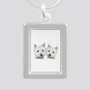 Two Cute West Highland White Dogs Silver Portrait