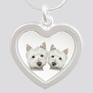 Two Cute West Highland White Dogs Silver Heart Nec