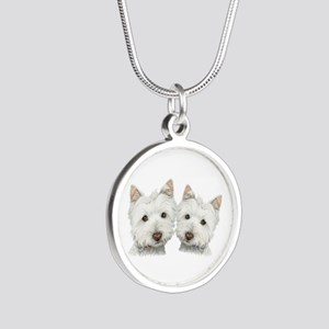 Two Cute West Highland White Dogs Silver Round Nec