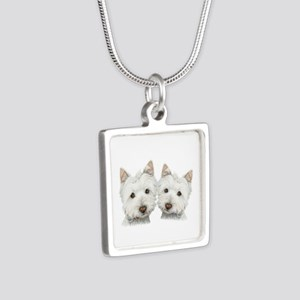 Two Cute West Highland White Dogs Silver Square Ne