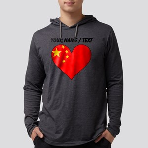 Custom China Flag Heart Mens Hooded Shirt