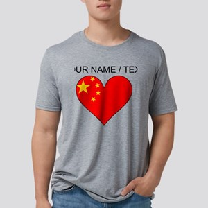 Custom China Flag Heart Mens Tri-blend T-Shirt