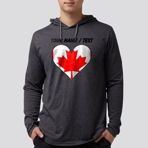 Custom Canada Flag Heart Mens Hooded Shirt