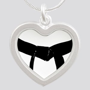 Martial Arts Black Belt Silver Heart Necklace