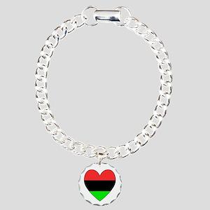 African American Flag Heart Black Border Charm Bra
