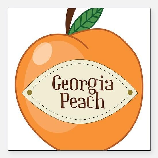 "Georgia Peach Square Car Magnet 3"" x 3"""