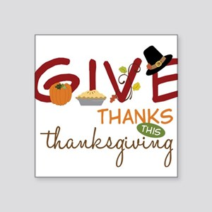"Thanksgiving Square Sticker 3"" x 3"""