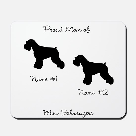 2 Schauzers - Cropped Tails/Natural Ears Mousepad