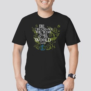 Be the Change - Earth - Green Vine Men's Fitted T-