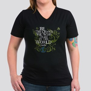 Be the Change - Earth - Green Vine Women's V-Neck