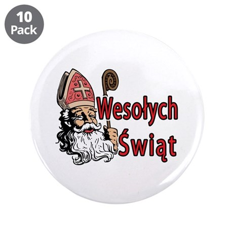 """Wesolych Swiat 3.5"""" Button (10 pack)"""