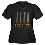 Fiddle Stix Women's Plus Size V-Neck Dark T-Shirt